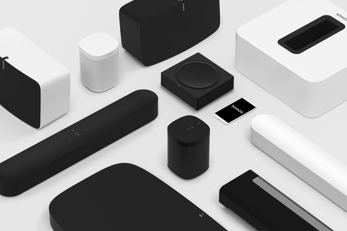 A collection of Sonos speaker devices.