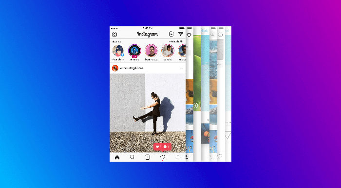 Screenshots from Instagram on a gradient background