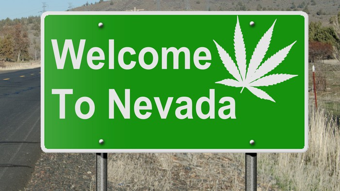 Welcome to Nevada road sign with cannabis leaf