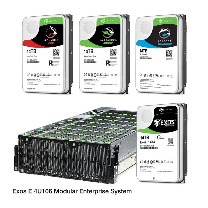Group of Seagate enterprise level hard drives and storage rack.