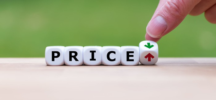 The word price spelled out, with a red up arrow and a green down arrow to the right.
