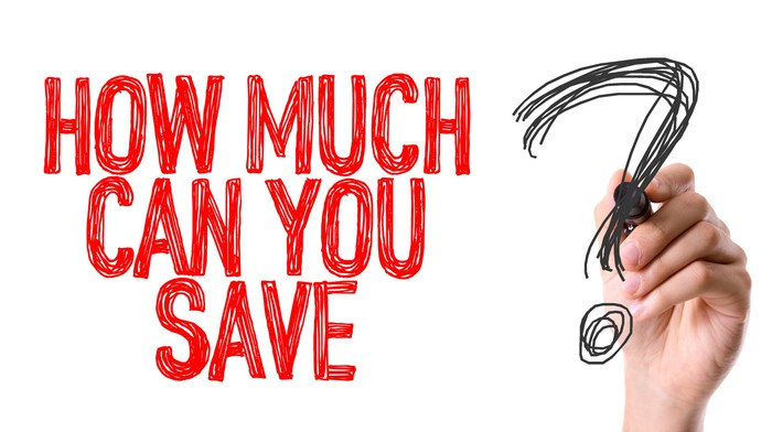 A hand has written the question how much can you save in red, with a black question mark.