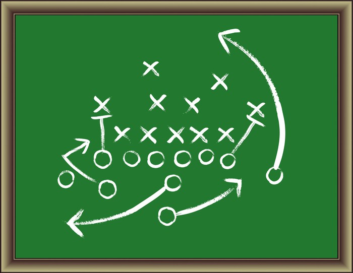 We see a football play as a coach might have diagrammed it, on a green chalkboard.