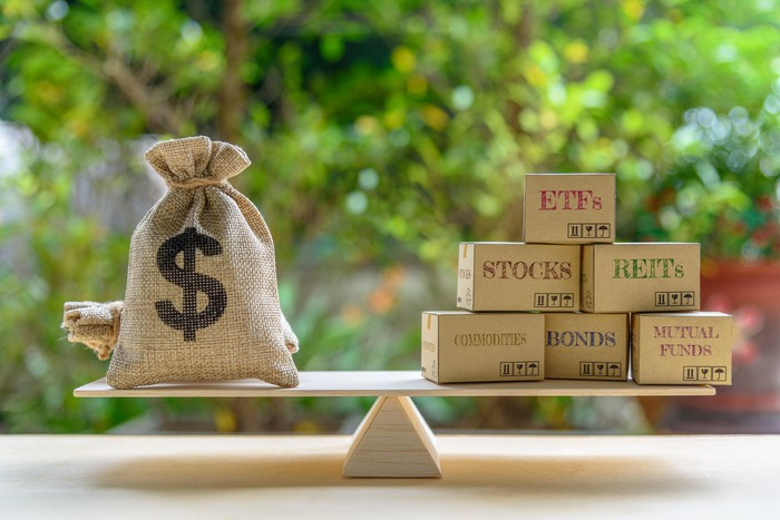 A bag of money sits on one end of a fulcrum, with wooden blocks representing various asset classes on the other.