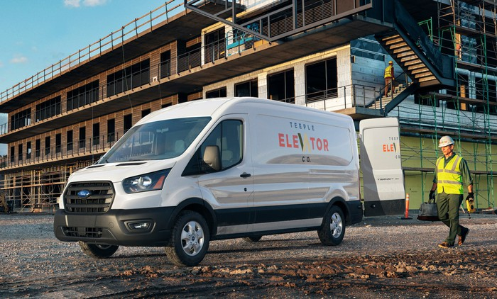 A 2020 Ford Transit, a commercial van, shown on a construction site.