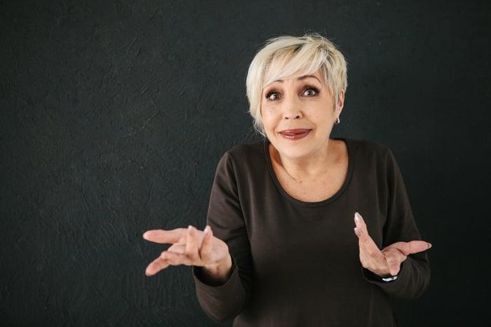 Older woman looking confused