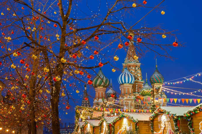 St Basil's Cathedral decorated for Christmas