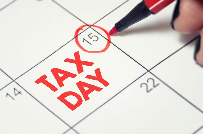 Calendar with tax day circled