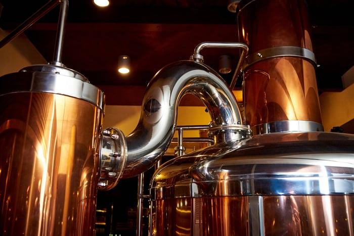 Copper beer kettles