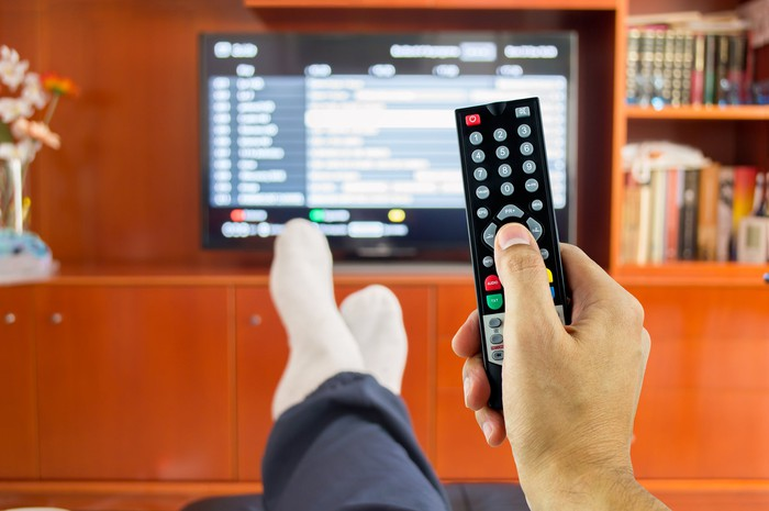 Person wearing socks and holding TV remote and watching TV.