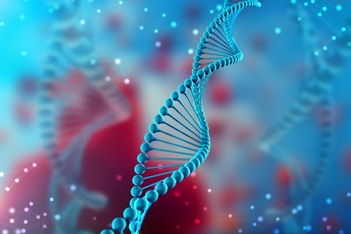 A DNA strand in blue is pictured against a blue and red background.
