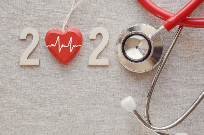 """""""2020,"""" with the first zero replaced with a red heart, and the second zero replaced by the end of a stethoscope"""