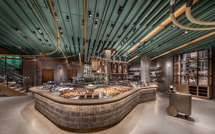 The interior of a Starbucks store