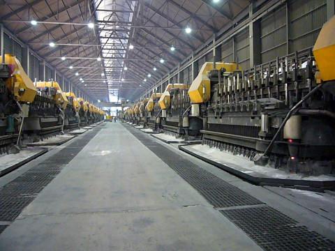 Interior shot of an Alcoa smelter.