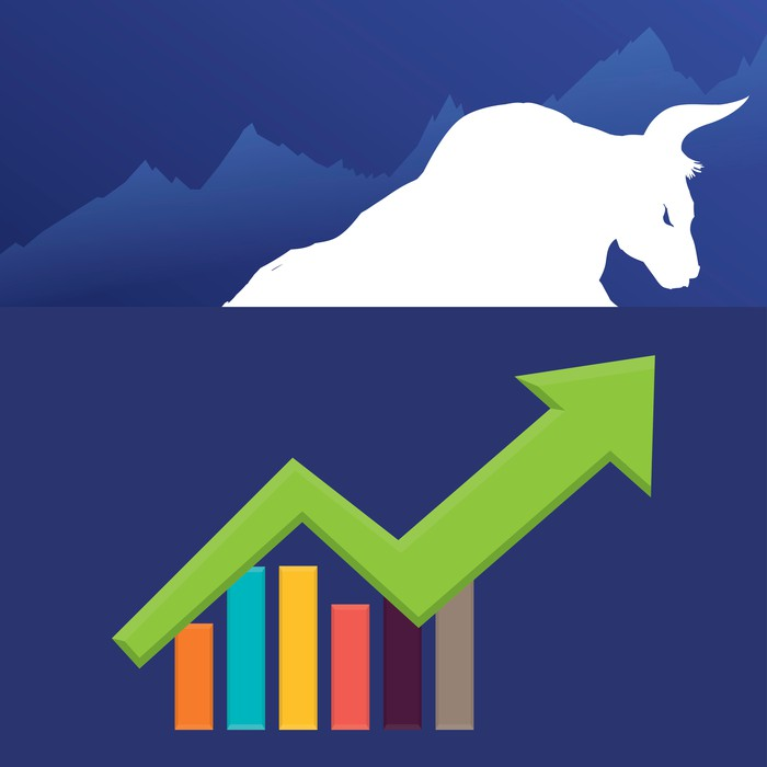 Drawing of a bull with a stock chart that's trending up.