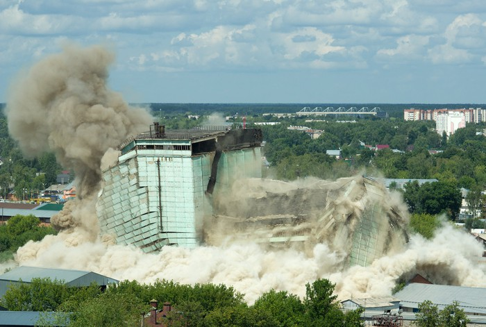Implosion of a building