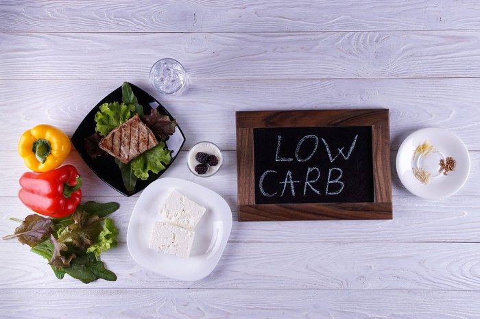 Low carb written on a small blackboard surrounded by various low carbohydrate foods