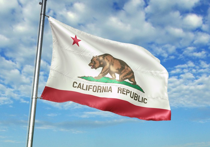 The California flag flying in the breeze.