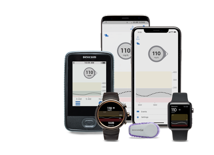 The G6 continuous glucose monitor and various ways to obtain the data (smart watches, smart phones).