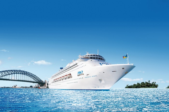 Carnival's P&O Pacific Jewel coasting along blue waters.