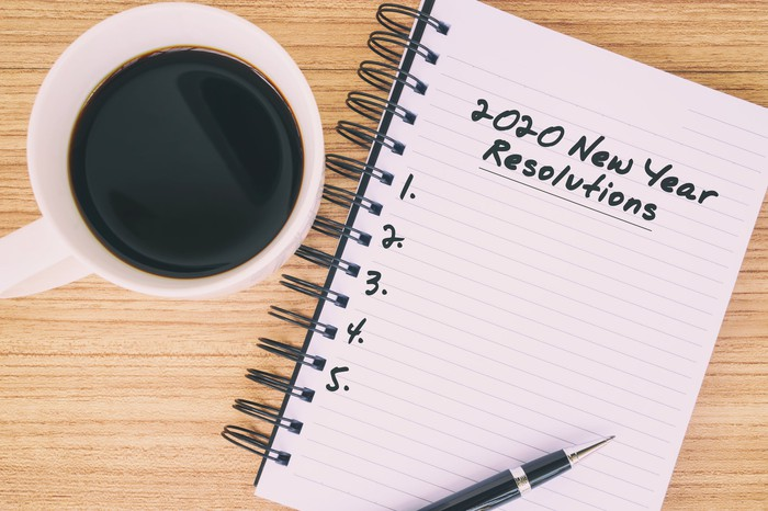 A notepad shows a blank list of resolutions for 2020.