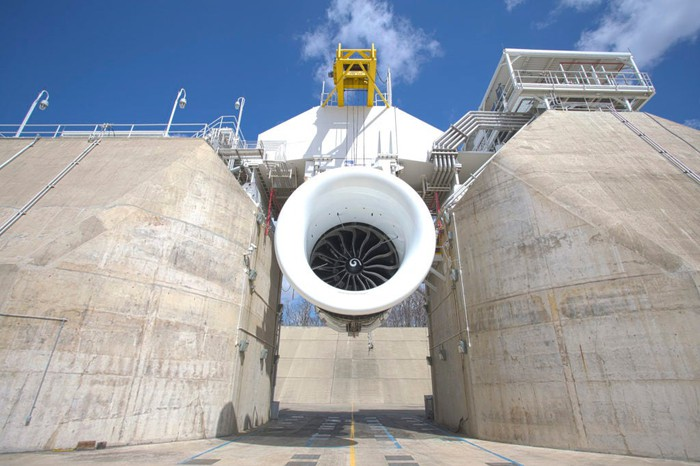 A GE9X engine is tested in an outdoor simulator at a GE research facility.