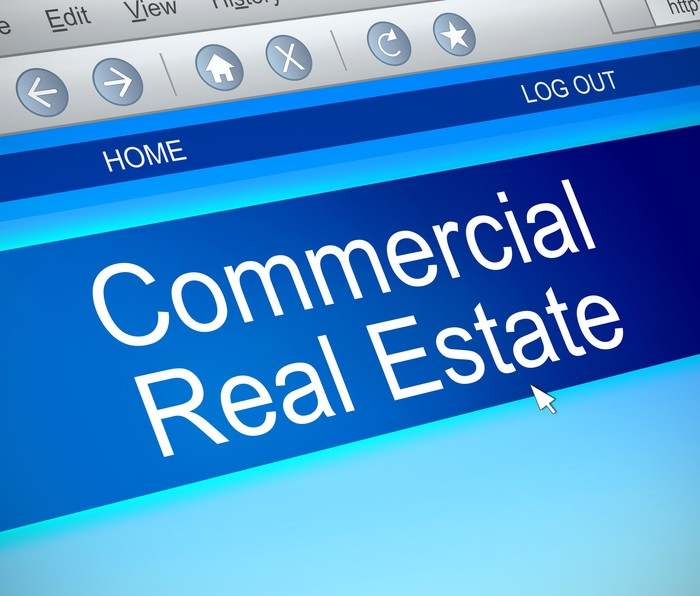 The words Commercial Real Estate on a computer screen.