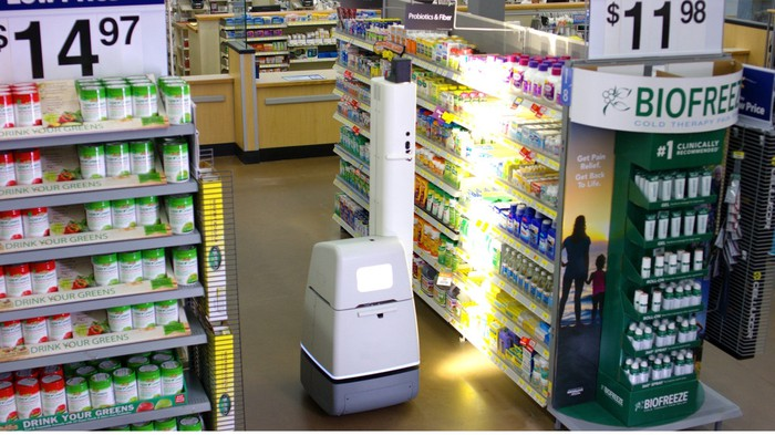 A shelf-scanning robot