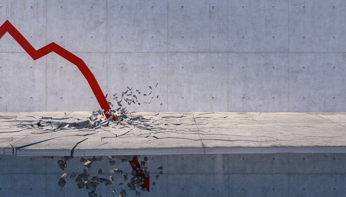 A red arrow crashing to symbolize the stock market crash.
