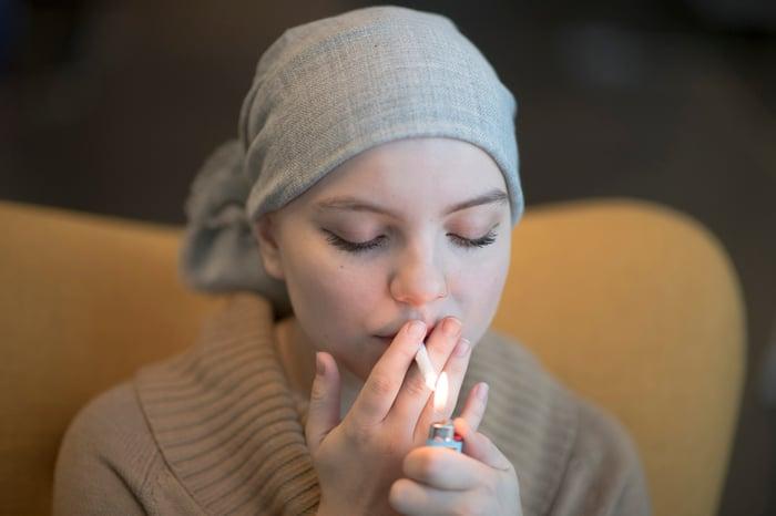 Female cancer patients smoking some medical marijuana.