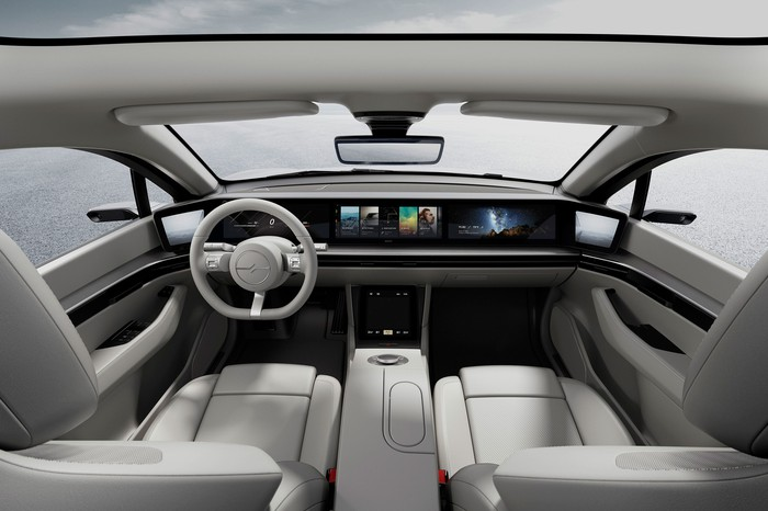 The interior of the Vision-S.