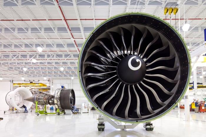 Photo of GE aircraft engine