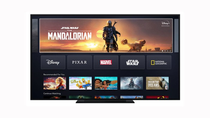 The homescreen of Disney+ displayed on a television.
