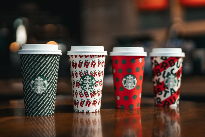A selection of Starbucks holiday cups