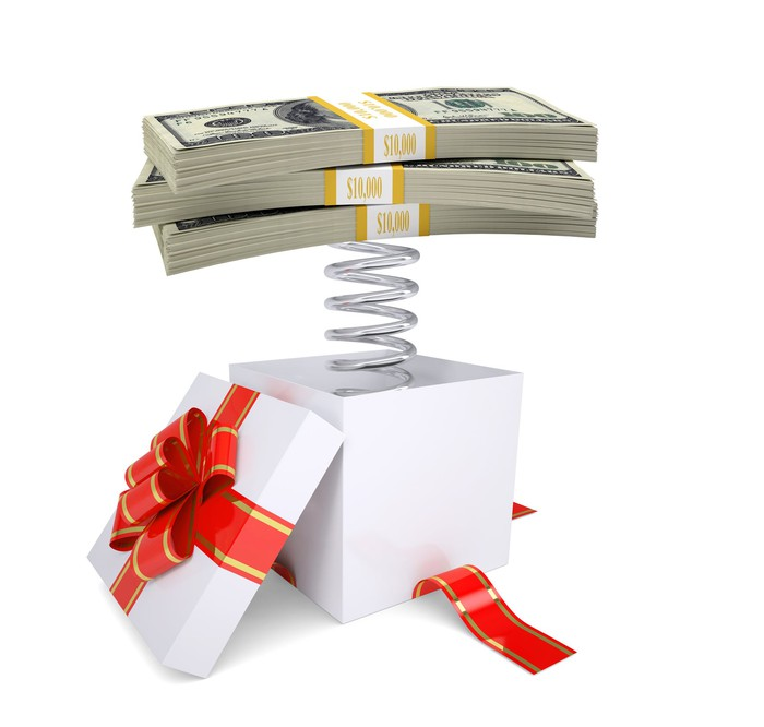 Several bundles of hundred-dollar bills attached to a coiled spring, sticking out from a newly opened gift box.