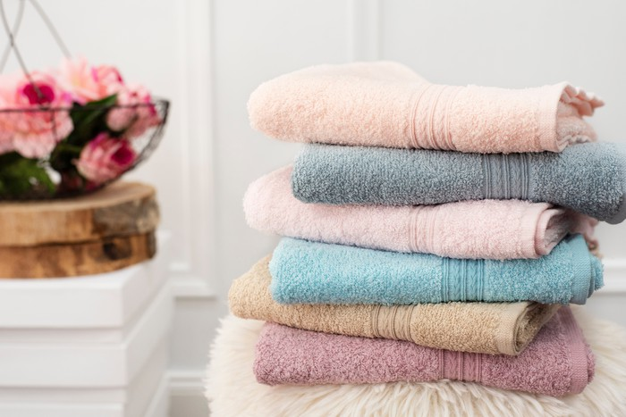 A stack of bath towels.