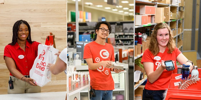 Three different Target employees working at checkout