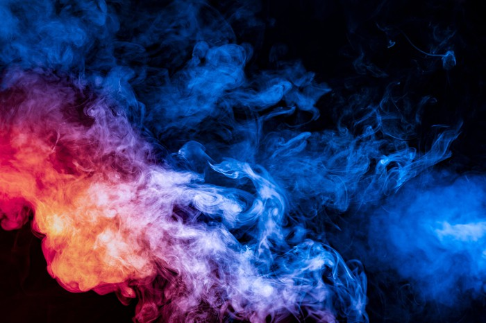 Smoke in colored lights.