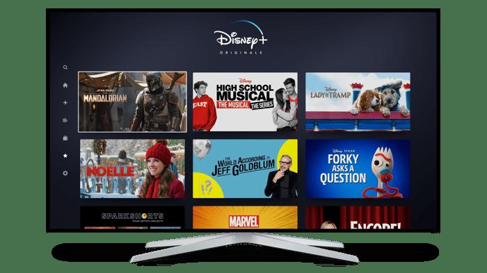 Disney+ interface display on a TV