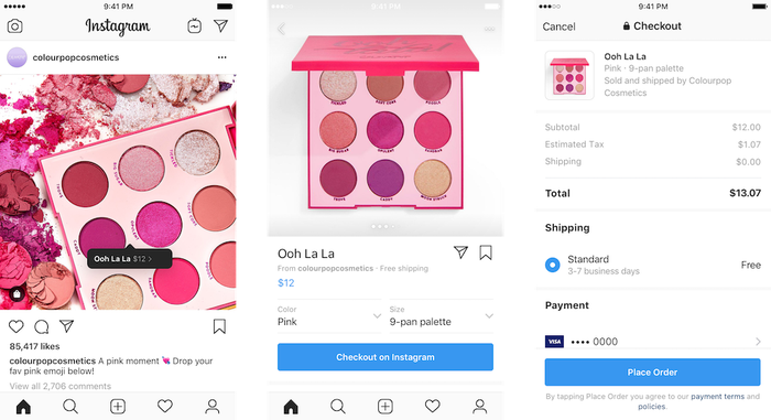 Three screenshots depicting Checkout on Instagram.