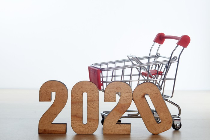 A miniature shopping cart behind wooden blocks spelling out '2020.'