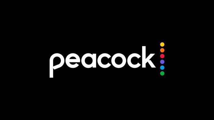 The word Peacock stylized with a row of multi-colored dots arranged vertically at the end.