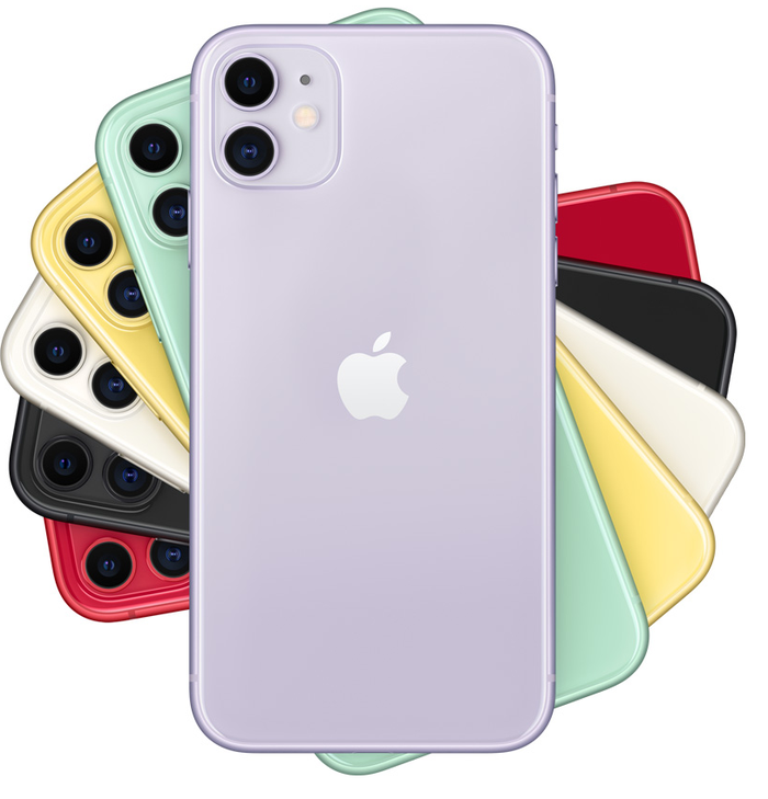 The iPhone 11 in different colors.