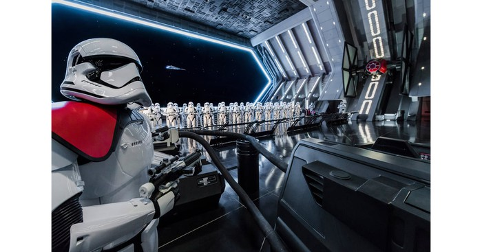 Stormtroopers intercept guests at Star Wars: Rise of the Resistance.