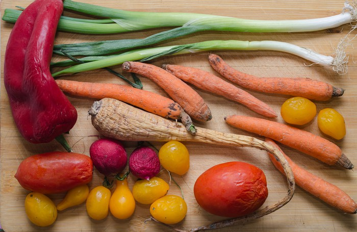 Collection of wilted vegetables