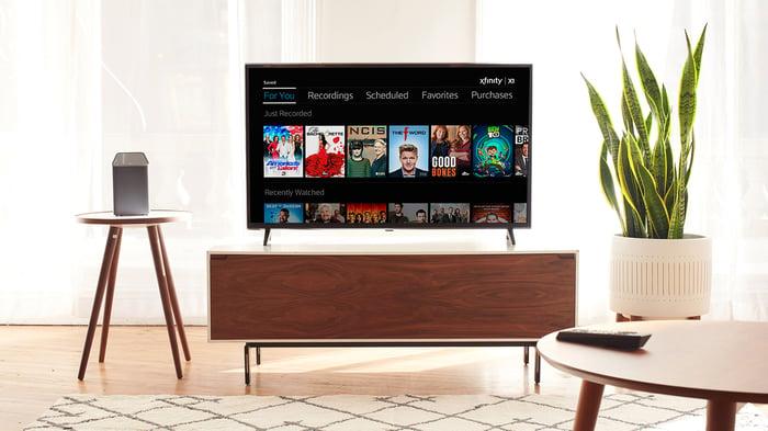Comcast Xfinity Service shown on a TV set.