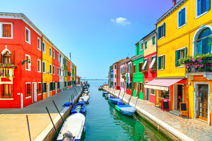 A colorful set of buildings in Italy