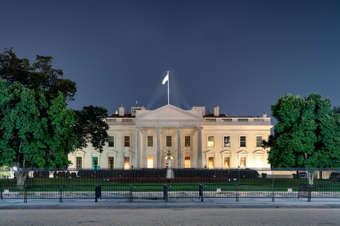 The White House, seen from street level at night