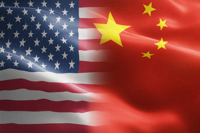 The American and Chinese flags.