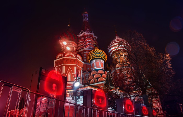 Glowing security gates around St. Basil's Cathedral.
